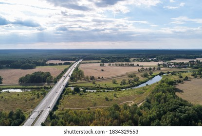 Olszyna/Poland, 08/30/2020: Road will be soon upgraded to highway. The A18 expressway will soon be built here. It leads over an Odra river which is Polish-German border