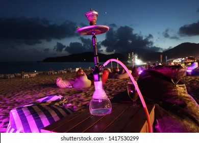 Olu Deniz, Turkey, June 2018, Shisha on Olu Deniz Beach.