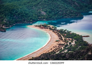Oludeniz Bay view in Fethiye Town. Amazing landscape from Lycian way. Travel destination. Summer and holiday concept. Blue Lagoon