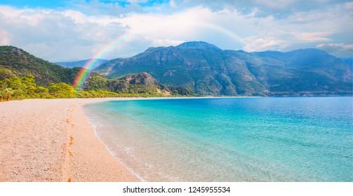 Oludeniz Beach And Blue Lagoon with rainbow -Oludeniz Best beaches in Turkey - Fethiye