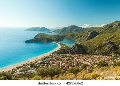 oludeniz lagoon in sea landscape view of beach, Turkey