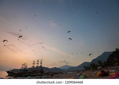 OLUDENIZ, MUGLA, TURKEY , OCTOBER 20, 2018; Oludeniz air games festival. 900 paragliding athletes flew at the festival. Oludeniz is a famous paragliding center.