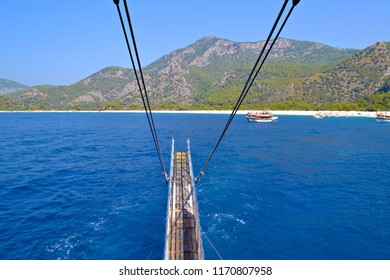 OLUDENIZ, TURKEY - September 2014: The sea view in Oludeniz on the azure water and island from the bow of the ship, OludenizTurkey