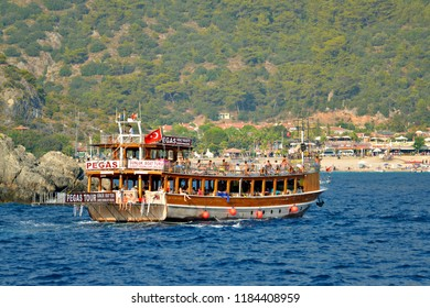 OLUDENIZ, TURKEY - September 2014: Tourist boat tours near Oludeniz, Turkey