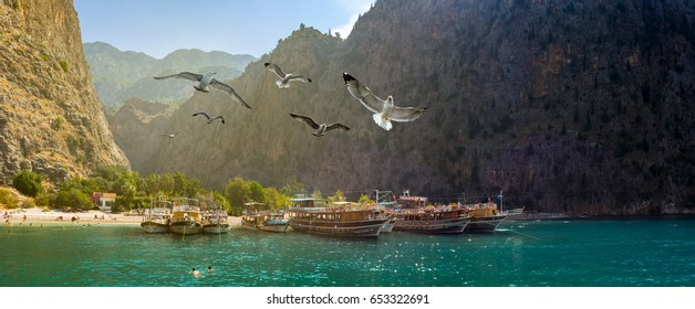 OLUDENIZ, TURKEY - SEPTEMBER 26, 2015: Panorama of the picturesque bay in the Canyon of butterflies with cruise boats, seagulls and beach. Butterfly Valley (Kelebekler Vadisi) on the Aegean Sea coast.