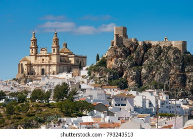 Olvera is a white village (pueblo blanco), Cadiz province, Andalucia, Spain - the Parroquia de Nuestra Senora de la Encarnacion (the Parish of Our Lady of the Incarnation) and the Moorish castle
