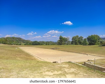 OLYMPIA, GREECE - AUGUST 2020: The archaeological site of ancient Olympia. The place where olympic games were born in classical times and where the Olympic torch today is ignited