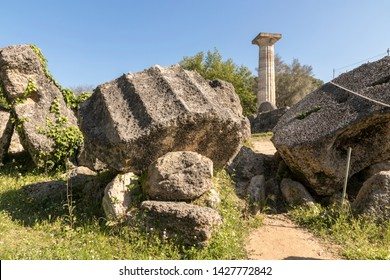 Olympia, Greece. The Temple of Olympian Zeus, an ancient Greek temple dedicated to the god Zeus, model of the Doric order