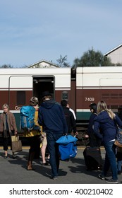 OLYMPIA, WA - 3 April 2016: Passengers prepare to board an Amtrak commuter train bound for Seattle.
