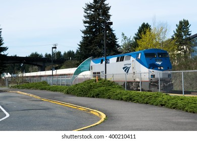 OLYMPIA, WA - 3 April 2016: A Seattle-bound Amtrak train pulls into the commuter station in Olympia, WA