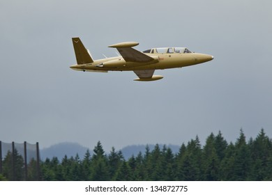 OLYMPIA, WA - JUNE 17: Fouga CM.170 Magister demonstration during Olympic Air Show at Olympia Airport on June 17, 2012 in Olympia, WA.