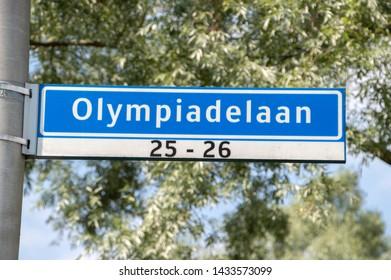 Olympiadelaan Street Sign At Amstelveen The Netherlands 2019
