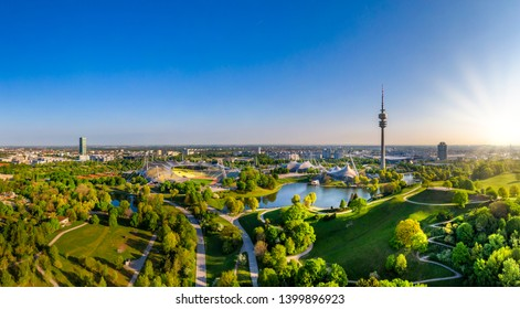 Olympic Area, park with olympic lake and television tower, Olympiaturm, Theatron, Olympiapark, Munich, Upper Bavaria, Bavaria, Germany, Europe, 2. May 2019