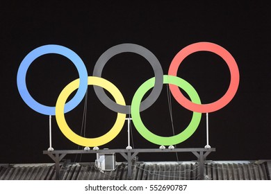 Olympic hoops with a straight bottom in an arena