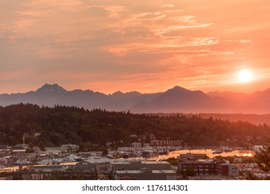 Olympic Mountain Sunset from Seattle