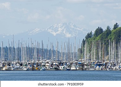 The Olympic Mountains are a beautiful backdrop for Swantown Marina in downtown, Olympia, WA, USA
