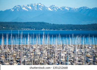 olympic mountains and boat marina in puget sound washington state