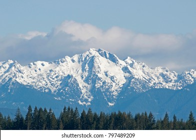 The Olympic Mountains taken from an overlook near Shelton, WA, USA.
