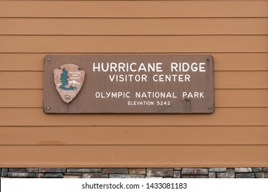Olympic National Park, United States: October 3, 2018: Hurricane Ridge Visitor Center Sign in Olympic National Park