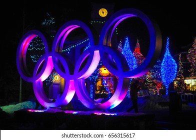 Olympic rings in Whistler, British Columbia, Canada - December 2016