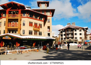 Olympic Valley, CA, USA January 26 The ski resort village in Olympic Valley California was designed in a French chateau style