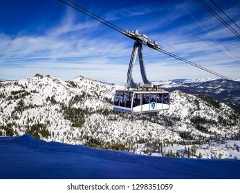 OLYMPIC VALLEY, CA/U.S.A.- JANUARY 23, 2019:  Photo of a tram arriving at the High Camp station.
