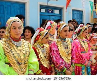 Olympo, Karpathos/ Greece - 08/15/2015: Festival in Olimpo, on the island of Karpathos in Greece, dedicated to Panaghia