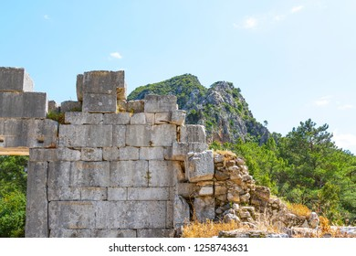 Olympos city, Roman temple gate. This structure in the North of the town has been identified as a temple owing to its monumental portal and the architectural features at the front. April 2018 Antalya