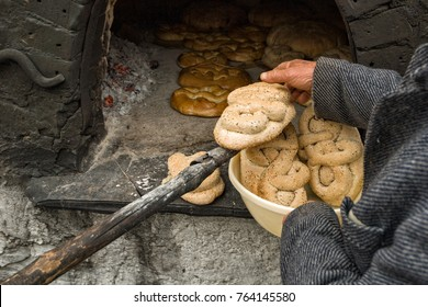 OLYMPOS, KARPATHOS, GREECE – april 5, 2007 : baking special bread for Easter