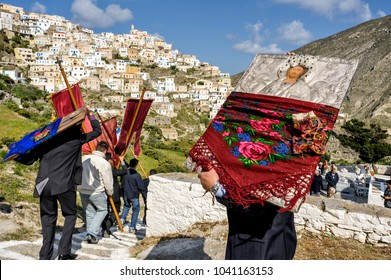 OLYMPOS, KARPATHOS island – april 29, 2008 : procession of Easter Tuesday.The icons are walking in the village and throughout the valley. The first stop is the cemetery to honor the dead.