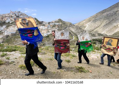 OLYMPOS, KARPATHOS island – april 29, 2008 : procession of Easter Tuesday.The icons are walking in the village and throughout the valley