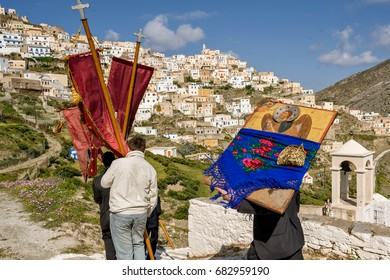 Olympos, Karpathos island, Easter Tuesday and the traditional procession. The icons are wandered through the village and the whole valley. The first stop is the cemetery to honor the dead