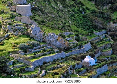 OLYMPOS, KARPATHOS,GREECE - November 3, 2006 : Olympos is a village and a former community on the island of Karpathos.   around the village there are many vegetable gardens and family chapels