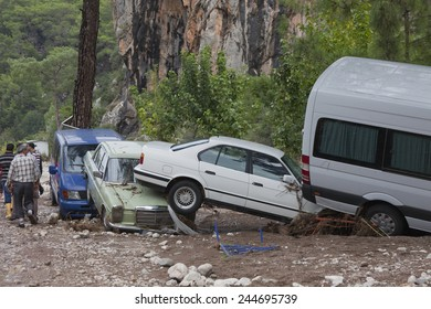 OLYMPOS, TURKEY - OCTOBER 14, 2009: Crashed Cars in Turkish Village after Flood Disaster in Olympos, Turkey.