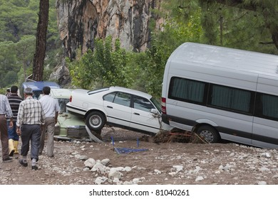 OLYMPOS, TURKEY - OCTOBER 14: Olympos, a famous holiday spot was hit by floods on October 14, 2009, Olympos, Turkey. The floods swept away about 50 cars parked on the road. Roads, bridges and houses were destroyed.