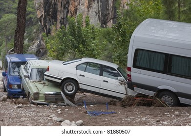 OLYMPOS, TURKEY - OCTOBER 14: Olympos, a famous holiday spot was hit by floods on October 14, 2009 in Olympos, Turkey. The floods swept away about 50 cars parked on the road. Roads were destroyed.