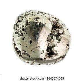 OLYMPUS DIGITtumbled pyrite (iron pyrite, fool's gold) gemstone cutout on white backgroundAL CAMERA