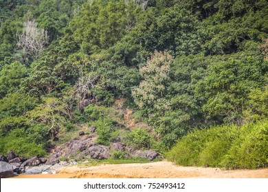 OM BEACH GOKARNA INDIA Jungle and cliff views, trekking to PARADISE BEACH in the morning