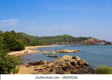 Om Beach. Natural coastline forms the main symbol of Hinduism - sign Om. Gokarna, Karnataka, India