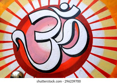 om symbol painted on a wall