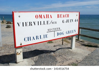 Omaha Beach D-Day Second World War location sector sign. Vierville sur Mer, near Colleville, Normandy, France.