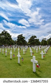Omaha Beach, France, 7th June 2014: White crosses in American cemetery for fallen soldiers during D-day Coleville near Omaha Beach, World war II, Normandy