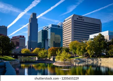 Omaha, NE - October 11, 2018: An evening view of the Omaha, Nebraska skyline from the Gene Leahy Mall. (0518)