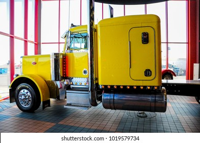 OMAHA, NEBRASKA - FEBRUARY 24, 2010 - Yellow Peterbilt 379 semi truck displayed at IOWA 80 Truckstop.