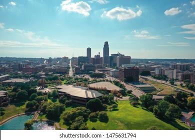 Omaha, Nebraska / USA - July 2019: Aerial view of the downtown Omaha Nebraska skyline