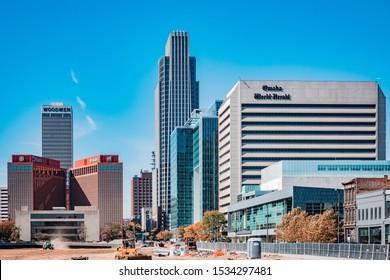 Omaha, Nebraska / USA - October 17, 2019: Downtown Omaha Nebraska Skyline on a bright and sunny autumn day.