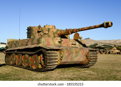 """OMAKA-APRIL 03:German tank on the display during the royal New Zealand air force """"Omaka airshow"""" on April 03, 2013 in Blenheim New Zealand"""