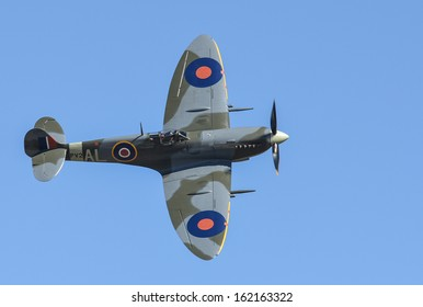 """OMAKA-APRIL 03:Supermarine Spitfire aircraft in flight during the royal New Zealand air force """"Omaka airshow"""" on April 03, 2013 in Blenheim New Zealand"""
