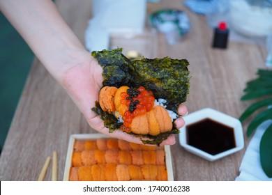 오마카세 우니 - 신선한 단미회, 익쿠라, 캐비아, 말린 해초 한 장, 일본 전통 음식. 선택적 초점