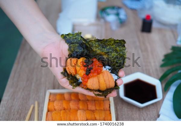 Omakase Uni - fresh sweet uni sashimi , ikura and caviar over sheet of dried seaweed, Japanese traditional food. Selective Focus.